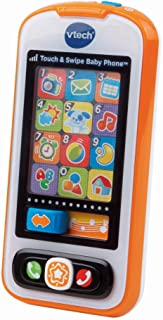 VTech Touch and Swipe Baby Phone (Frustration Free Packaging), Orange, Great Gift For Kids, Toddlers, Toy for Boys and Girls, Ages Infant, 1, 2, 3