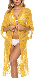 c202c914c4 Women's Lace Cardigan Floral Crochet Sheer Beach Cover Ups Long Open Kimono