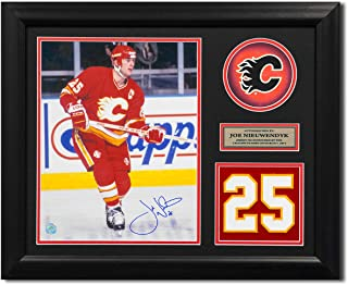 AJ Sports World Joe Nieuwendyk Calgary Flames Signed Franchise Jersey Number 23x19 Frame
