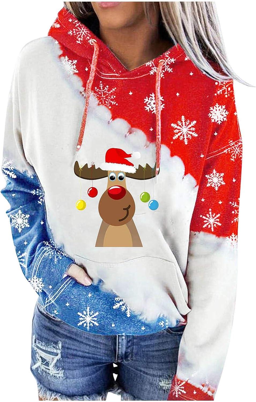 Forwelly Women Christmas Hoodies Tops Elk Printed Long Sleeve Drawstring Pullover Hooded Sweatshirts with Pocket