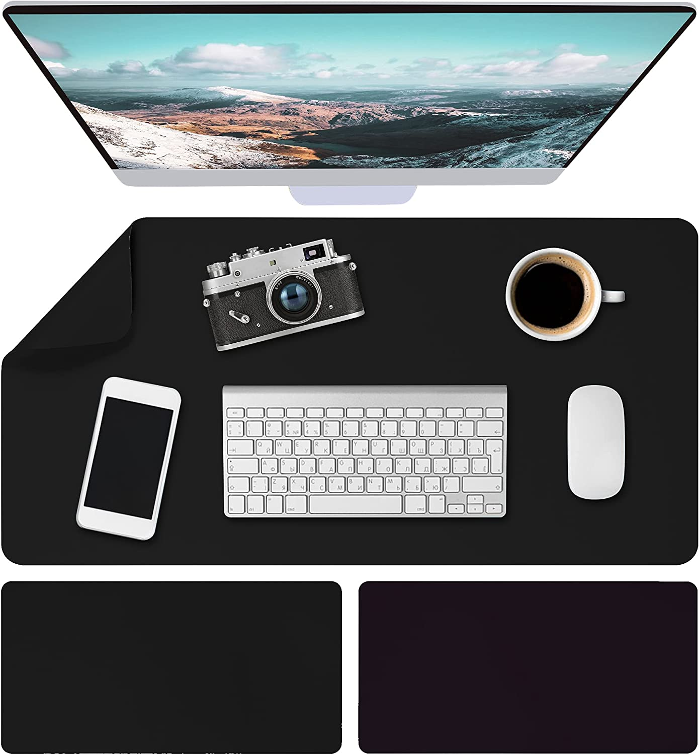 Desk Pad, Dual-Sided Office Desk Mat Waterproof and Non-Slip Desk Blotter Protector Durable Faux Leather Desk Writing Mouse Pad for Office and Home Black (31.5