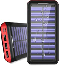 Power Bank Solar Portable Charger 24000mAh - ALLSOLAR Solar Phone Charger with 3 Fast Charging USB Port and Dual Input External Battery Pack for Android Phones and All Smartphones and More(Red)