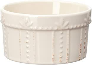Signature Housewares Sorrento Collection 11-Ounce Stoneware Ramekin, Ivory Antiqued Finish