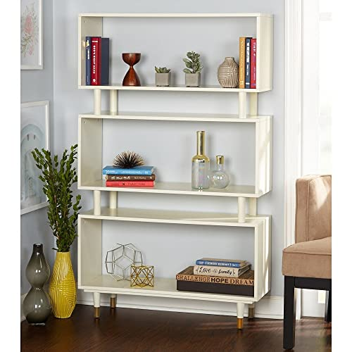 Simple Living Modern Margo Mid-Century 3-Shelf Bookshelf Antique White dfe071cd82