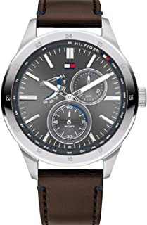Tommy Hilfiger Men'S Grey Dial Brown Leather Watch - 1791637