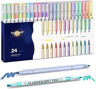 Lot de 24 surligneurs pastel pour Bible - Couleurs assorties - Grand dos - Double pointe - Sans bavure - Marqueurs fluores...
