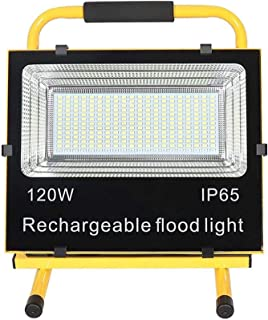 120W LED Portable Work Light, Cordless Rechargeable Flood Lights, IP65 Waterproof Outdoor Working Lights with Stand, Buil...