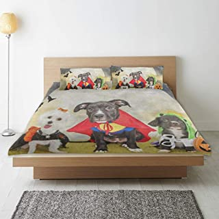 Hipster Puppy Dog Dressed in Halloween Costumes 3 Piece Bedding Duvet Cover Set Twin Size 1 Quilt Cover and 2 Pillow Cases Shams 66
