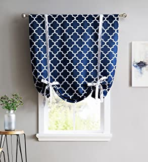 HLC.ME Lattice Print Thermal Room Darkening Blackout Tie Up Shade Valance Curtain for Small Windows - Navy Blue - 46