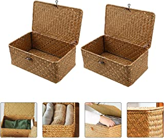 Bestonzon 2PCS Straw Woven Storage Baskets Bin Seagrass Box with Handles for Shelves Box Organizer for Nursery Kids Toddle...
