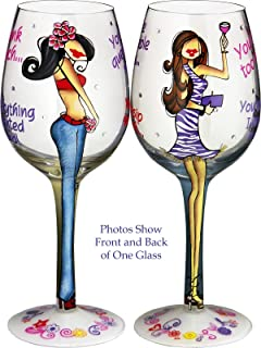 Bottom's Up 15-Ounce Lasting Friendships Handpainted Wine Glass