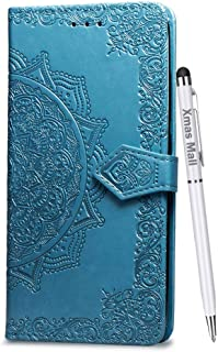 Xmas Mall Case for LG W30 Pro Premium PU Emboss Mandala Leather Flip Standing Case Cover with Free Dual Use Pen, Blue