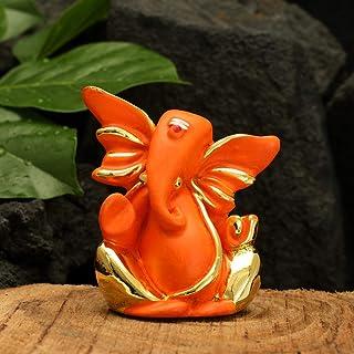 CraftVatika Gold Plated Red Terracotta Ganesha Statue for Car Dashboard God Ganpati Idols Home Office Decor (Size 7 cm x 6...