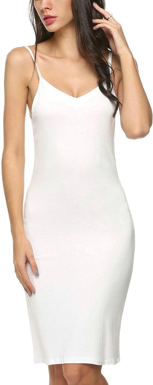 Beautysail Women Modal V Neck Nightwear Sleeveless Straight Dress Mini Short Slips XXL White