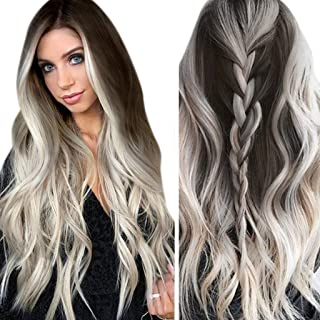 Fashion Long Wig Fashion Womens Synthetic Wig Grey Long Wavy Full Wigs Party Hair Wigs Suitable for Everyday Use Halloween Concert Party Appointment (Grey)