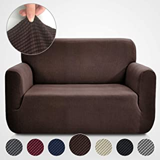 Rose Home Fashion RHF Jacquard-Stretch Loveseat Slipcover Slipcovers for Couches and Loveseats, Loveseat Cover&Couch Cover for Dogs, 1-Piece Sofa Protector(Loveseat: Chocolate)