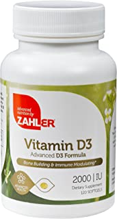 Zahler Vitamin D3 2000IU, All-Natural Supplement Supporting Bone Muscle Teeth and Immune System, Advanced Formula Targetin...