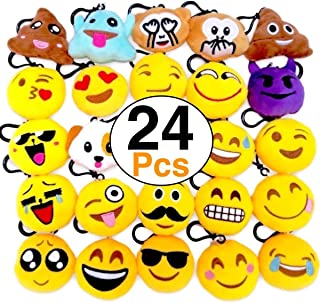 OHill 24 Pack Emoji Plush Pillows Mini Keychain for Birthday Party, Home Decoration, Classroom Rewards and Party Favor