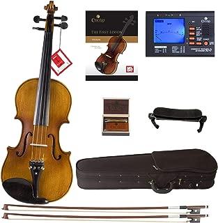 Cecilio CVN-500 Solidwood Ebony Fitted Violin with D'Addario Prelude Strings, Size 1/4