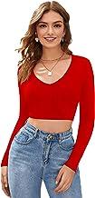 THE BLAZZE 1109 Sexy Women's Full Sleeve Tank Crop Tops Bustier Bra Vest Shorts Crop Top Bralette Blouse Top for Women