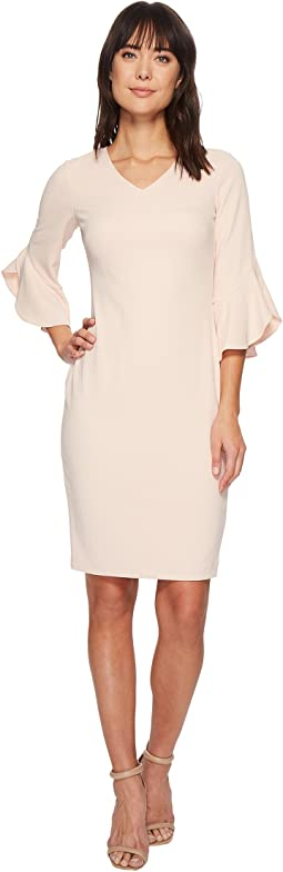 Calvin Klein Short Sleeve Scuba Dress w/ Ruffle
