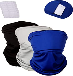 Dreamfox 3 Pcs Face Scarf Bandanas Neck Gaiter with 12 Pcs Safety Carbon Filters for Men and Women Outdoors Cycling Sports