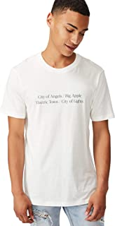 Cotton On Men's Graphic T-shirt, Vintage White/City Of Lights