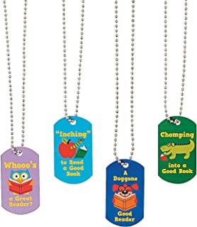 Fun Express Metal I Love Reading Dog Tag Necklaces | 12 Count | Great for Bookworm Themed Birthday, Party Prizes & Favors, Book Club, Accessorizing, Tokens