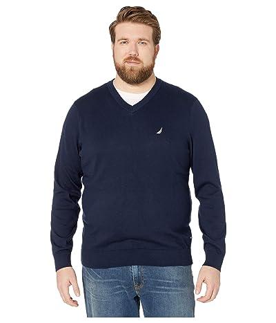 Nautica Big & Tall Big Tall V-Neck Navtech Knit Sweater (Navy) Men