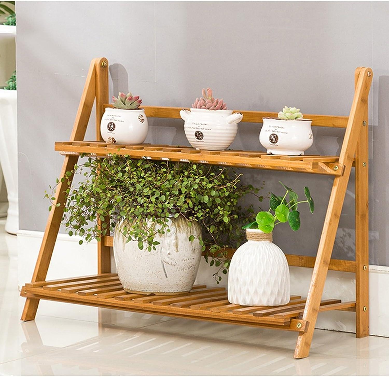 Art Home Store Bamboo Flower Rack Living Room Solid Wood Floor Multi - Layer Folding Set Balcony Flower Pot Shelf (Size   602753 cm)