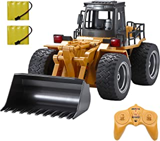 Luck-Broccoli 6 Channel Full Functional RC Truck Alloy Shovel Loader Tractor 2.4G Remote Control Bulldozer Toy 4WD,Electri...