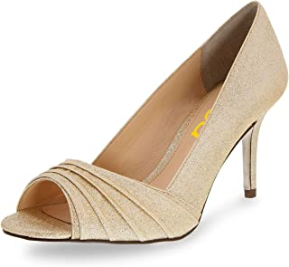 Women Elegant Slouch Peep Toe Pumps Glitter High Heels...