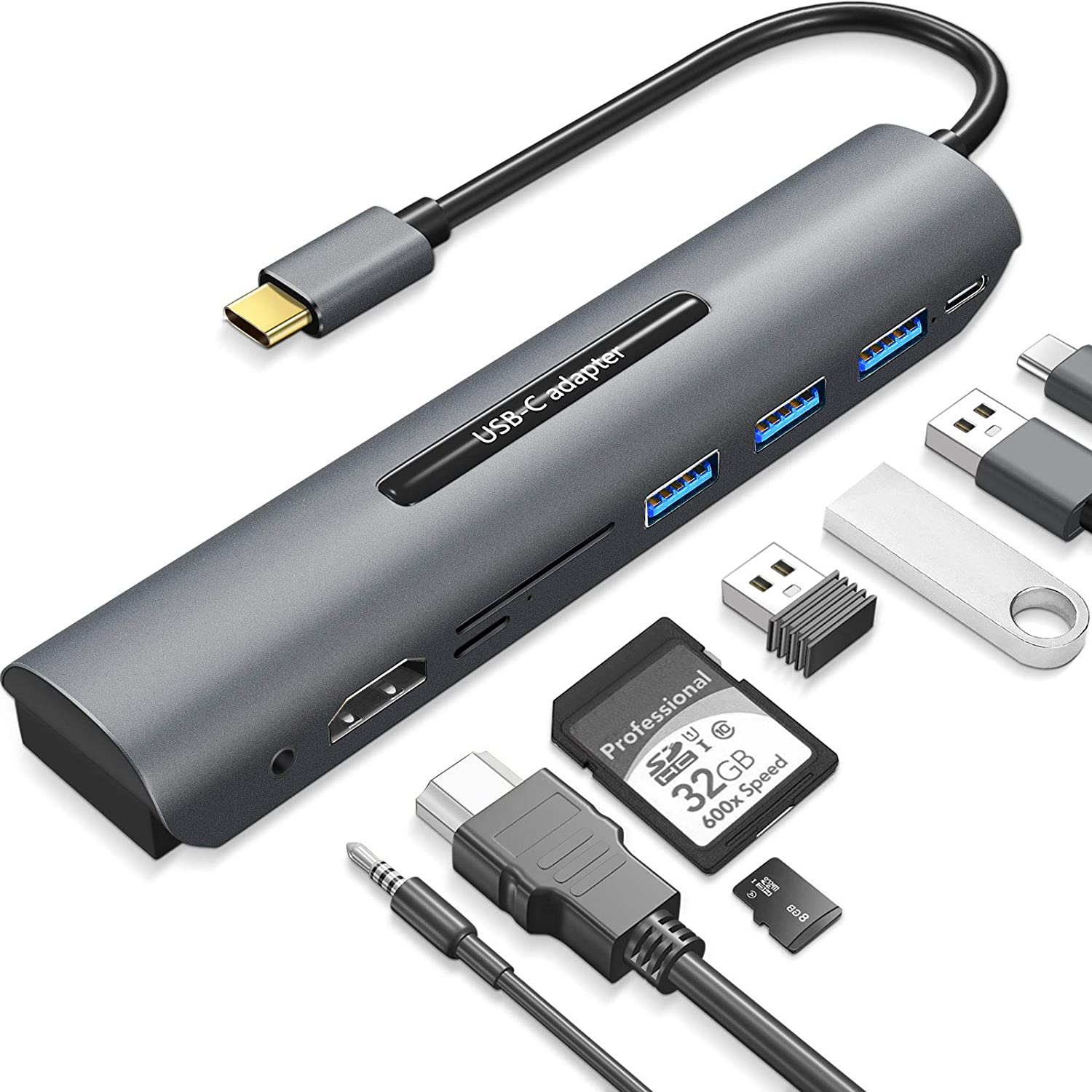 USB C Hub for MacBook Pro, 8 in 1 USB C Multiport Adapter, with 4K HDMI, USB 3.0 and USB-A Ports, 60W Power Delivery, SD/TF Card Reader, USB Dongle Compatible with MacBook Pro/Air XPS