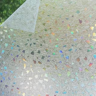 Bloss 3D Static Cling Window Film Stained Glass Window Film Decorative Frosted Window Clings Vinyl Window Covering 35.4Inch x 78.7Inch 1 Roll