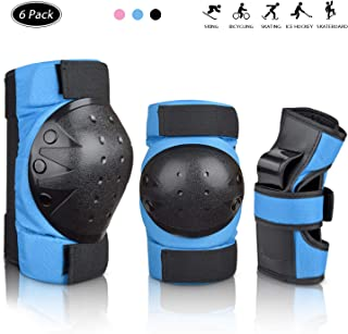 Deacroy Adult/Child Knee Pads Wrist Guards Elbow Pads 6 in 1 Protective Gear Set for Volleyball Inline Roller Skating Skateboarding Cycling Scooter Ski