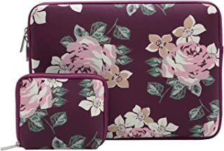 Mosiso Laptop Sleeve Compatible 13 Inch New MacBook Pro Touch Bar A1989 & A1706 & A1708 2018 2017 2016, Surface Pro 2017, Dell XPS 13, Water Repellent Lycra Rose Pattern Bag with Small Case, Wine Red