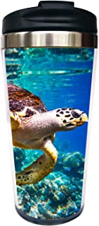 Waldeal Sea Turtle Travel Coffee Mug with Flip Lid, Sea life Stainless Steel Tumbler Cup Water Bottle 15 OZ, Ideal for Boys Girls Men Women