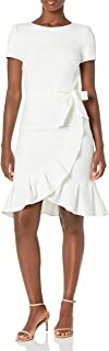 Calvin Klein Women's Ruffle Hem Belted Dress