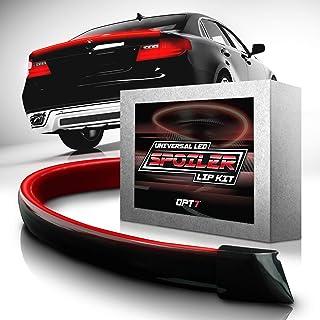 OPT7 Universal LED Spoiler Rear Spoiler Lip Kit (3.9ft) for Car Trunk, Exterior Accessories, Brake Light, Dark Black, Trun...
