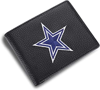 For Dallas Cowboys Embroidered Genuine Leather Bifold Wallet with 3 Card Slots and ID Window For Dallas Cowboys (Black, For Danas cowboy)