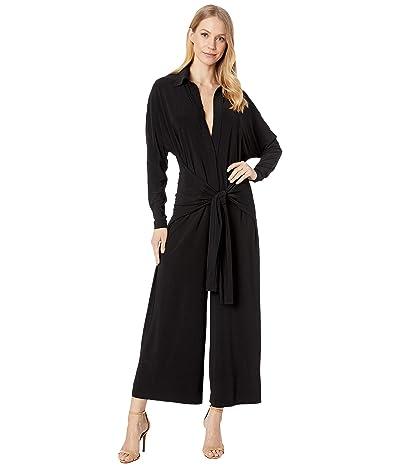 KAMALIKULTURE by Norma Kamali Tie Front NK Shirt Cropped Straight Leg Jumpsuit (Black) Women