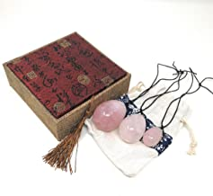 THY COLLECTIBLES Set of 3 Drilled Yoni Eggs Rose Crystal Quartz Jade Egg for Kegel Exercise Pelvic Floor Muscles Vaginal Exercise Ben Wa Ball Health Care For Women Brocade Gift Box & Pouch