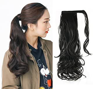 """Synthetic Ponytail Hair Extensions - Remeehi 24"""" Body Wave Wrap Around Ponytails Clip in Hairpieces For Women (2#)"""