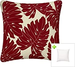 FBTS Prime Outdoor Decorative Pillows with Insert Red Patio Accent Throw Pillows 18x18 Inches Square Patio Cushions for Co...