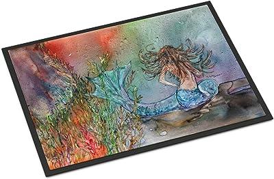 """Caroline's Treasures Brunette Mermaid Water Fantasy Indoor or Outdoor Mat 24x36 8972JMAT, 8972JMAT, Multicolor, 24"""" H x 36"""" W"""