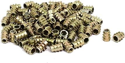 uxcell M4x10mm Hex Socket Threaded Insert Nuts Bronze Tone 100pcs for Wood Furniture
