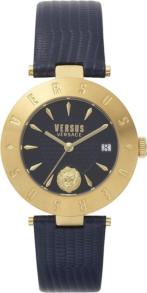 Versus versace orologio analogico donna con cinturino in pelle e quadrante in acciaio inox VSP772218