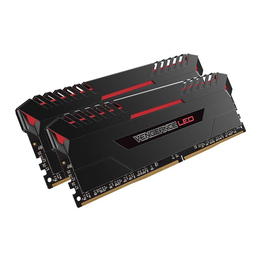 CORSAIR VENGEANCE LED 16GB (2x8GB) DDR4 2666MHz C16 Desktop Memory - Red LED