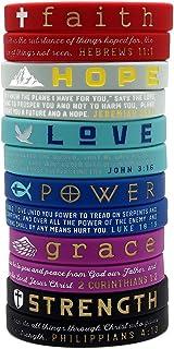 (12-Pack) Christian Inspirational Bible Bracelets, Variety Pack - Faith Hope Love Power Grace Strength - Wholesale Pack of...