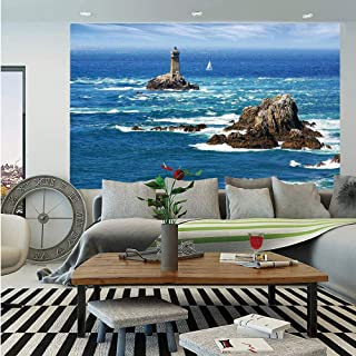 SoSung Lighthouse Wall Mural,Daytime Lighthouse Wavy Ocean View and Clear Sky Rocky Islands Sailboat Decorative,Self-Adhesive Large Wallpaper for Home Decor 83x120 inches,Blue Gray White